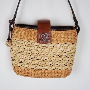 Brighton Vtg. 2 Tone Straw Handbag w/Leather Strap